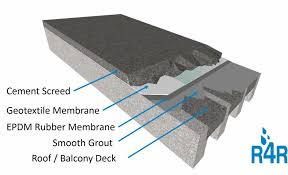 the addition of a cement screed over the epdm membrane will protect and provide a tough wear resistant surface that can then be finished off with decorative