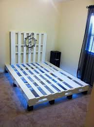 Wooden Pallet Bed with Lights ...