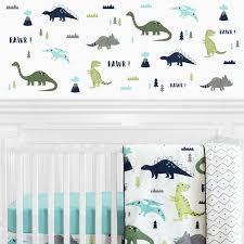 blue green mod dinosaur bedding wall