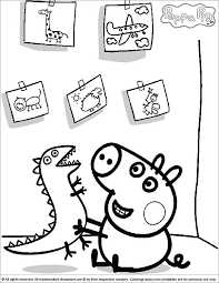 George Playing With His Dinosaur Peppa Pig Coloring Page Peppa