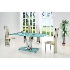 frosted glass dining set large frosted glass dining table and 4 cream chairs frosted tempered glass