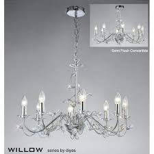 unforgettable willow large 8 light polished chrome chandelier with crystal large chrome lantern chandelier
