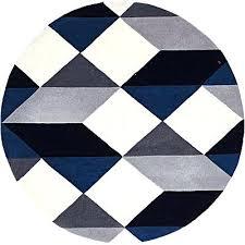 blue circle rug modern wool round rug steel dark blue circular rug