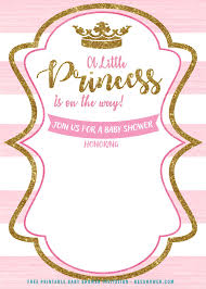 Free Printable Baby Shower Invitations For Girls Free Pink And Gold Princess Baby Shower Invitation Free