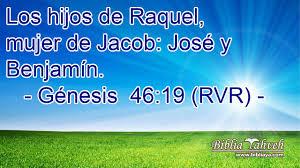 Génesis 46:19 (rvr) - Los hijos de Raquel, mujer de Jacob: José...