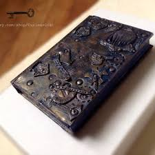 steunk ooak art book cover polymer clay art art journal travel journal