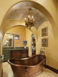 beautiful traditional bathrooms. amazing mediterranean style bathroom design with beautiful traditional freestanding copper bathtub under dome ceiling classic chandelier and double sink bathrooms e