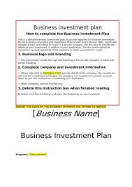 Investment Plan Templates Free 12 Business Investment Proposal Samples Amp