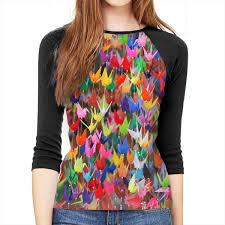 Paper Crane Size Chart Womens Blouse 3 4 Sleeve Origami Paper Cranes Print T Shirt