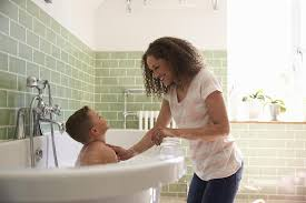 multitasking moms use bath time to clean more than just the kids