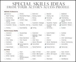 Skill List For Resume Acting Special Skills Examples Actor Within