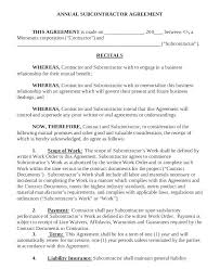 Subcontractor Agreement Format Construction Subcontractor Agreement Template South Africa