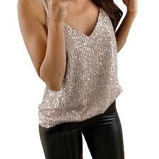 TAOtTAO <b>Womens</b> Glitter Strappy Tank <b>Tops Ladies Sexy</b> Sparkle ...