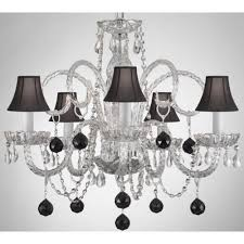 empress crystal 5 light clear chandelier with black shades and black crystal