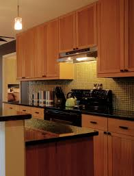 minimalist kitchen with brown unfinished wooden kitchen cabinets brown louvered cabinet door panel and