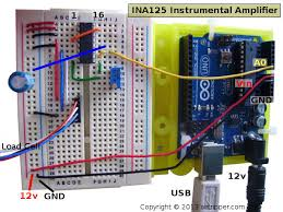arduino load cell circuit sketch for calibration test ina125 instrumental amplifier breadboard circuit