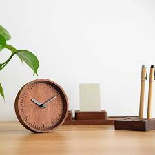image for ultra quiet wood desk clock