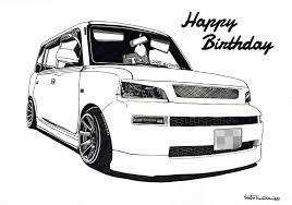 Toyota Bb 車バイク好きへプレゼントにオーダーメイドのイラスト絵