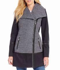 womens guess wool asymmetrical shawl collar faux leather trim jacket usjacket215on