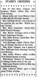 Addie and Lena Weaver visited Myrtle Heritage, and, Myrtle Heritage called  on MIss Bessie Robertson - Newspapers.com