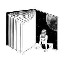 reading is dreaming with your eyes open by henn kim vector line art drawing ilration reading book moon woman black and white