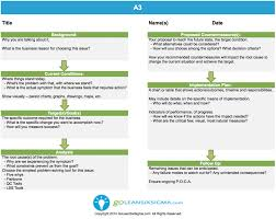 Downloadable A3 Template Goleansixsigma Com Lean Six Sigma