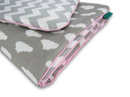 reversible nursery bedding set grey white clouds chevrons