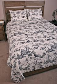 quilt set french country black white classic toile bedding home cotton light blue duvet cover red