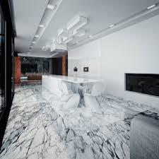White marble tile flooring Sange Mar Mar White Marble Flooring For Modern Kitchen Design With White Kitchen Island And White False Ceiling Plus Recessed Lights Andifitsrealcom Flooring Ideas White Marble Flooring For Modern Kitchen Design With