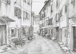 Historical Street Wallpaper Hand Drawn Pencil Sketch Sketches