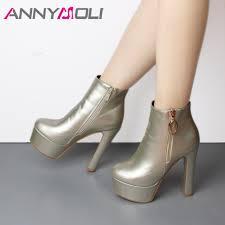 <b>ANNYMOLI</b> Ankle Boots Women <b>Winter</b> 2018 New Platform Extreme ...
