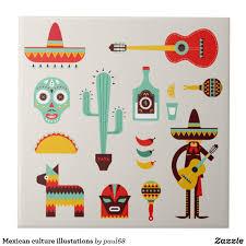 Mexican Style Graphic Design Mexican Culture Illustations Ceramic Tile Zazzle Com In