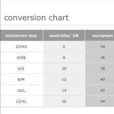 Lululemon Sizing Chart Tops Size Chart Boutique