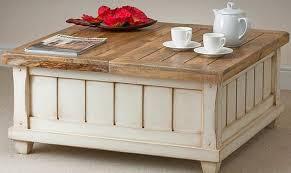 image of diy rustic storage coffee table