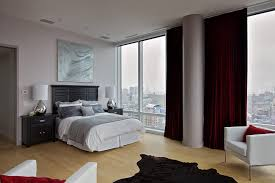 ... blackout drapes in Bedroom Contemporary with Floor To Ceiling Drapes  next to Gray And White Bedroom alongside Red Bedding and Bedroom Color  Combinations