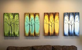 reclaimed wood wall art seasons of change abstract tree paintings on upcycled wood 72 extra large 4 pcs
