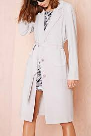 light gray lapel single ted belted chic trench coat