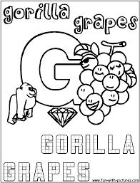 G Gorilla Grapes Coloring Page