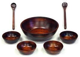 7 piece mahogany finish wooden salad bowl set ikea acacia wood dinnerware salad bowl