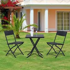 rattan garden furniture bistro set outdoor patio coffee table two chairs black