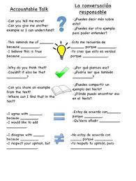 Bilingual Accountable Talk Poster Anchor Chart