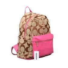 Coach Logo Monogram Medium Pink Backpacks DPI