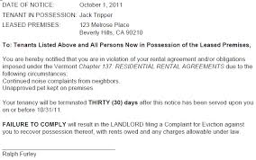 Lease Violations Vermont 30 Day Termination Of Tenancy Breach Of Lease