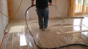 gypsum concrete poured over radiant tubing