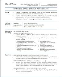 Oracle Database Administrator Sample Resume Database Administrator