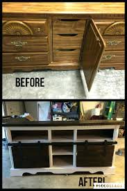 65 turned an old dresser into a tv stand with sliding barn doors old world tv