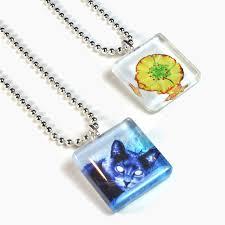 russian blue cat flower pendant
