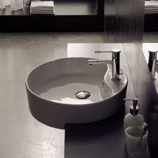 bathroom sink scarabeo 8029 d round white ceramic semi recessed sink
