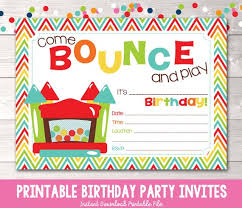 Print Out Birthday Invitations Magnificent Bouncy Castle Instant Download Birthday Party Invitation Etsy