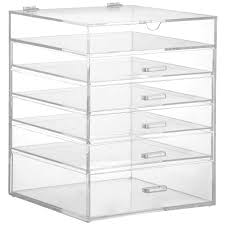 sentinel beautify large clear acrylic cosmetic makeup jewelry storage cube organizer case